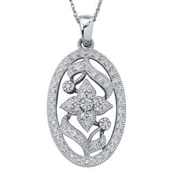 Sterling Silver 1/4ct TDW Diamond Floral Milligrain Necklace (H-I, I3)