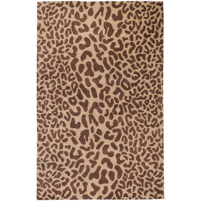Hand-tufted Tan Leopard Whimsy Animal Print Wool Rug (9' x 12')
