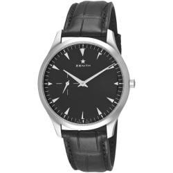 Zenith Men's 'Elite Ultra Thin' Black Dial Leather Strap Watch