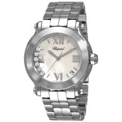 Chopard Women's 'Happy Sport Round' Mother of Pearl Dial Diamond Watch