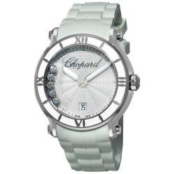 Chopard Women's 'Happy Sport Round' White Rubber Strap Diamond Watch