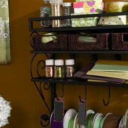 Burnet Espresso Wall Mount 2-Shelf Craft Storage Rack
