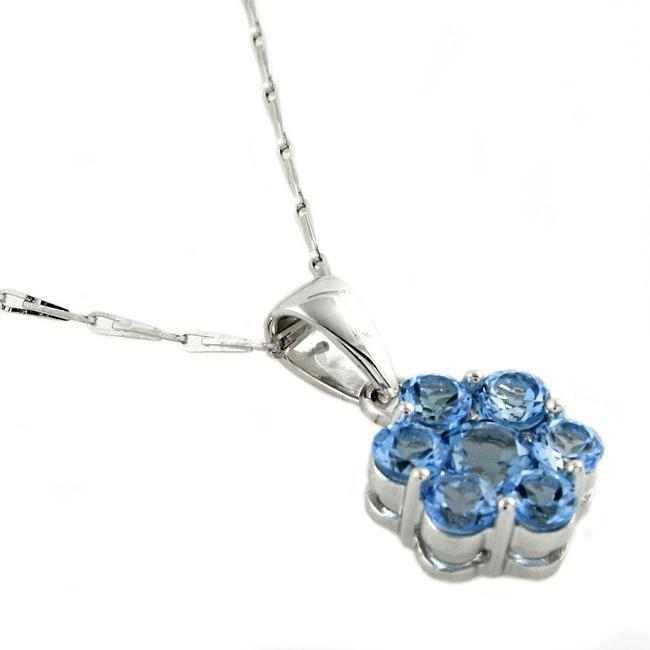 Beverly Hills Charm 14k White Gold Blue Topaz Flower Necklace