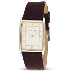 Skagen Women's Textured Brown Leather Strap Watch
