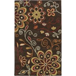Hand-tufted Whimsy Chocolate Wool Rug (10' x 14')
