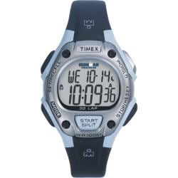 Timex Women's T5E951 Ironman Traditional 30-Lap Black/Light Blue/Silvertone Watch