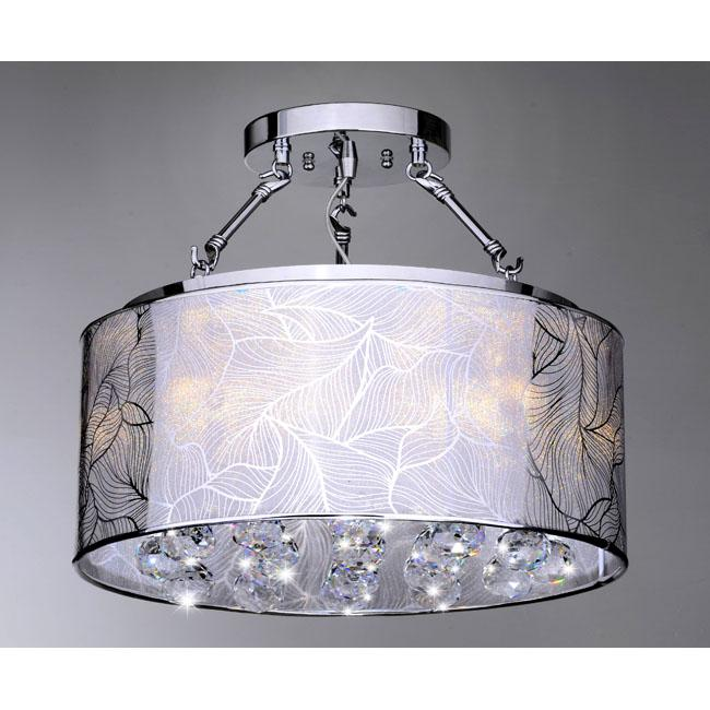Indoor 5-light Chrome and Crystal Flushmount Chandelier