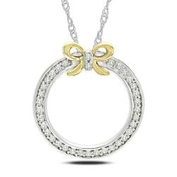 14k Gold over Sterling Silver 1/6ct TDW Diamond Necklace (G-H, I3)