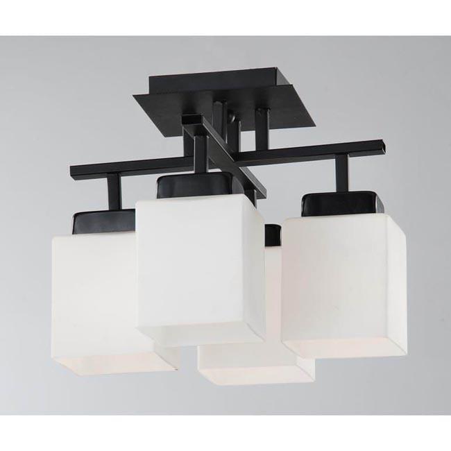 Black Flush-mount 4-light Chandelier