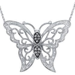 Sterling Silver 1/4ct TDW Diamond Butterfly Milligrain Necklace (H-I, I3)
