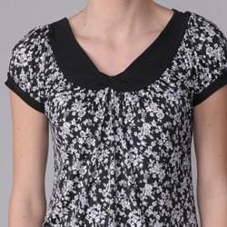 Journee Collection Womens Floral Print Stretch Knit Top