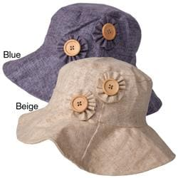 Adi Designs Women's Flower Button Accent 3.5-inch Brim Cotton Hat