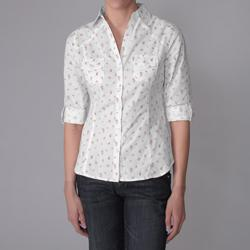 Derek Heart Juniors Cotton Woven Ditzy Print Buttoned Blouse