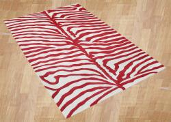 Alliyah Handmade New Zeeland Blend Zebra Off White Rug (5' x 8')
