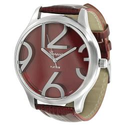 Geneva Platinum Women's Simulated Patent Leather Watch