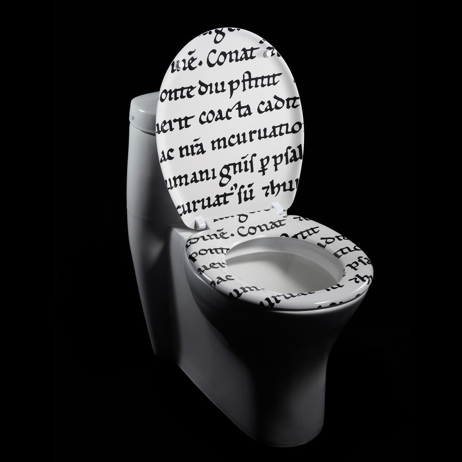 Latin Characters Designer Melamine Toilet Seat Cover