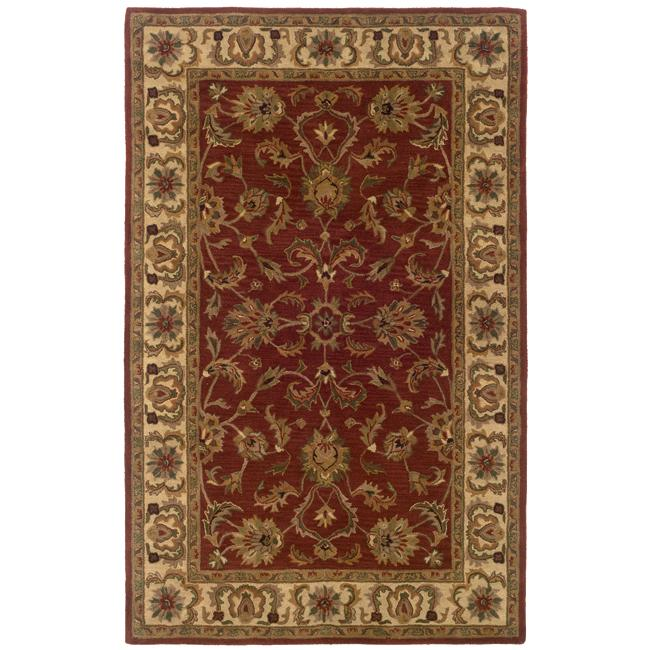 Hand-tufted Red and Ivory Wool Area Rug (8' x 10')