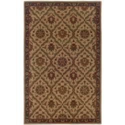 Hand-tufted Beige and Brown Wool Area Rug (5' x 8')