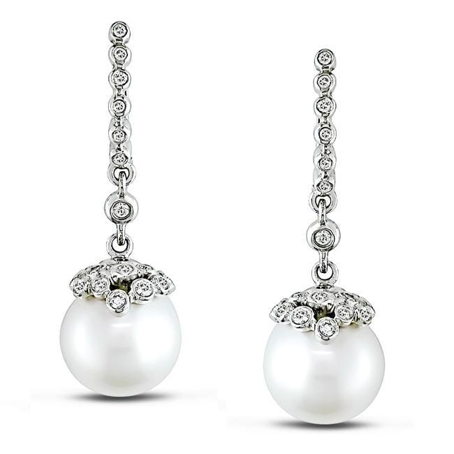 Miadora 18k Gold South Sea Pearl and 1/2ct TDW Diamond Earrings (G-H, SI2) (11-12 mm)