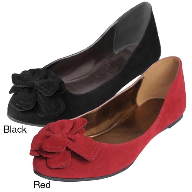 Journee Collection Women's 'Jump-10' Bow Accent Faux Suede Flats