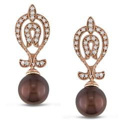 Miadora 14k Gold Brown Pearl and 1/2ct TDW Diamond Earrings (G-H, SI2) (9-10 mm)