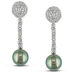 Miadora 14k White Gold 1 1/4ct TDW Diamond and Tahitian Pearl Earrings (G-H, SI2) (9-10 mm)