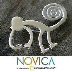 Sterling Silver 'Playful Nazca Monkey' Brooch Pendant (Peru)