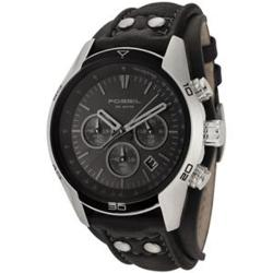 Fossil Men's Stainless Steel Case Black Dial Chronograph Watch