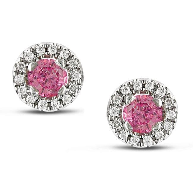 Miadora 14k White Gold 3/4ct TDW Pink and White Diamond Earrings (G-H, I1)