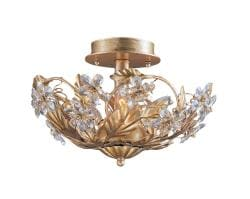 Crystal Abbey 3-light Gold Semi-flush Light