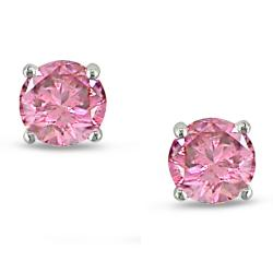 Miadora 14k White Gold 1/2ct TDW Pink Diamond Stud Earrings