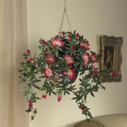 Silk 24-inch Hanging Passion Flower Basket