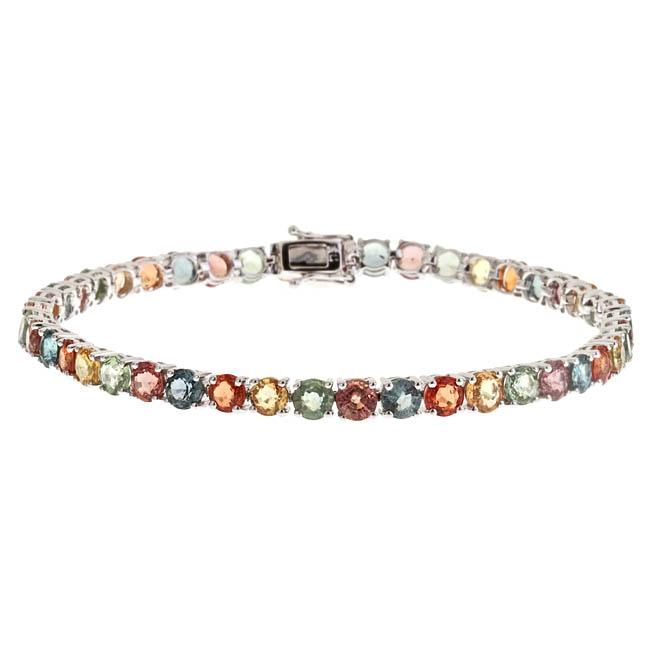 D'Yach 14k White Gold Multi-colored Sapphire Fashion Bracelet