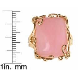 D'Yach 14k Yellow Gold Pink Opal Fashion Ring