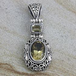 Sterling Silver Citrine with Floral Motif Pendant (Indonesia)