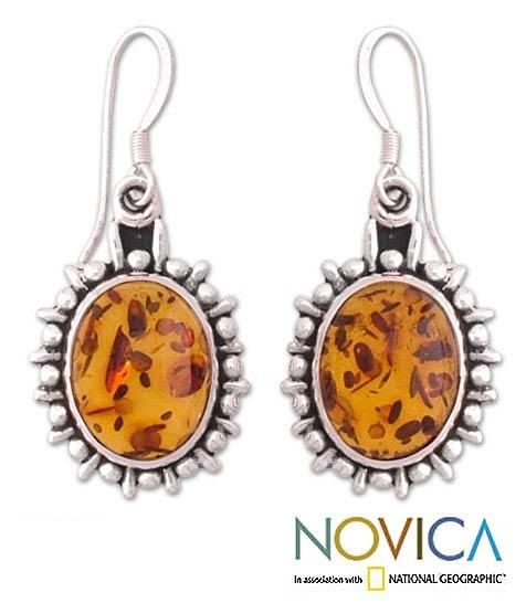 Sterling Silver 'Honey Drops' Amber Dangle Earrings (India)