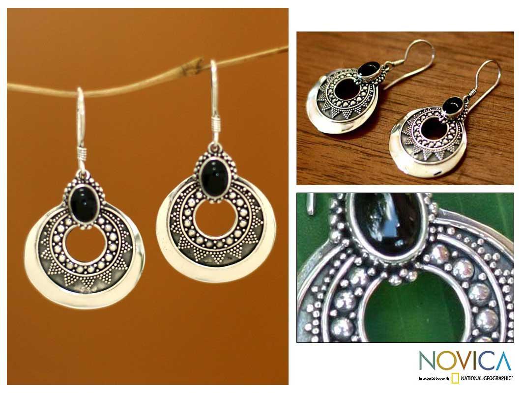 Sterling Silver 'Royal Medallion' Onyx Dangle Earrings (Indonesia)