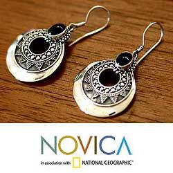 Sterling Silver 'Royal Medallion' Onyx Dangle Earrings (Indonesia)