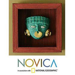 Papier Mache 'Emerald Moche Mask' Shadow Box Mask (Peru)