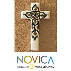 Ceramic 'Floral Cross' Wall Sculpture (Guatemala)