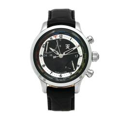 Timex Men's World Time Black Dial Black Leather Strap Watch