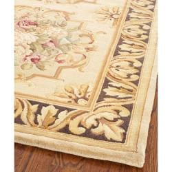 Asian Hand-Knotted Savonnerie Beige Wool Area Rug (8' x 10')