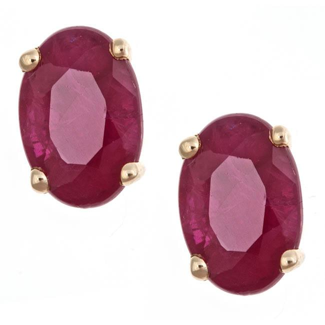 Anika and August 14k Yellow Gold Ruby Stud Fashion Earrings