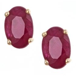 D'Yach 14k Yellow Gold Ruby Stud Fashion Earrings