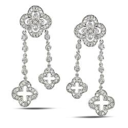 14k White Gold 3/4ct TDW Diamond Flower Dangle Earrings (I-J, I2-I3)