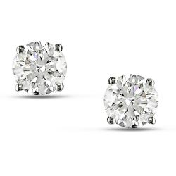 14k White Gold 1 2/5ct TDW Diamond Solitaire Earrings (G-H, I1-I2)