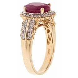 D'Yach 14k Yellow Gold Ruby and 2/5ct TDW Diamond Fashion Ring (G-H, I1-I2)