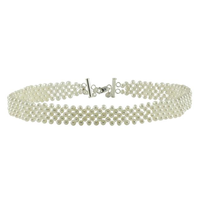 Pearls For You Sterling Silver Freshwater Pearl 5-Strand Adjustable Choker (4-4.5 mm)