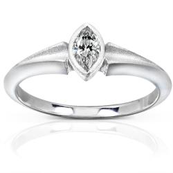 10k White Gold 1/3ct TDW Diamond Solitaire Bezel Ring (H-I, SI1-SI2)