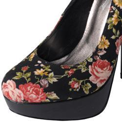 Glaze by Journee Co Women's 'Nicole-2-Blk' Floral Print Platform Pumps